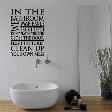 word for bathroom in england bathroom rules word block wall sticker by mirrorin