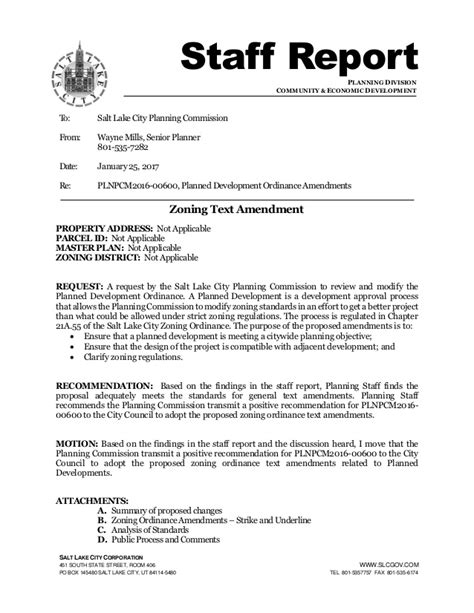 Staff Report On Modifications To Planned Development Ordinance Staff Report Template