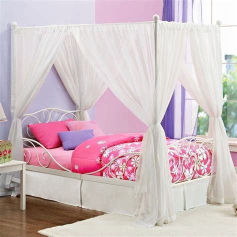 canopy for twin bed metal twin canopy bed in white 3265098