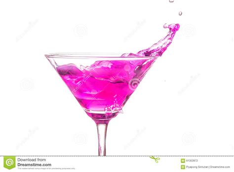 pink martini logo up martini glass with pink cocktail stock photo