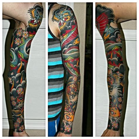 japanese tattoo phoenix az traditional japanese dragon and koi sleeve by meg mcniel