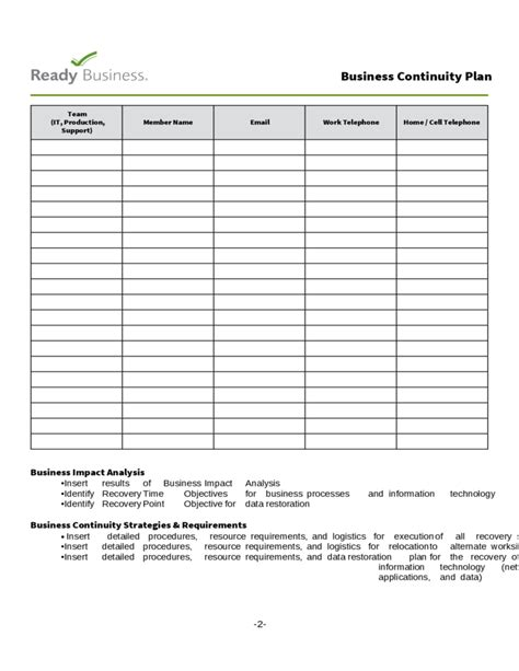 template for business continuity plan simple business continuity plan template free