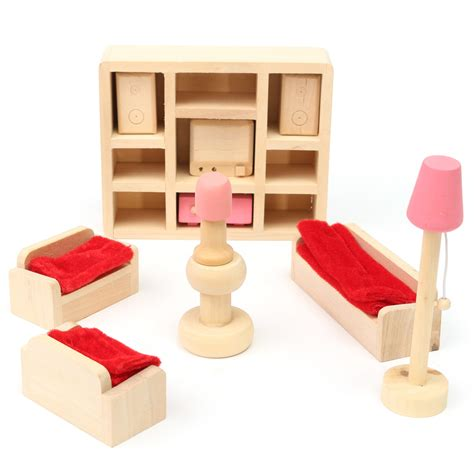 childrens dolls house furniture sets wooden doll set children toys miniature house family furniture kit accessories alex nld