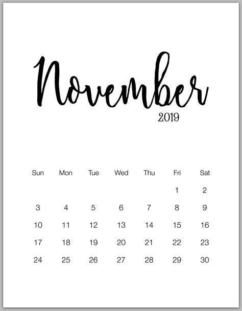 minimalist printable calendar  january  december calendarbuzz november calendar