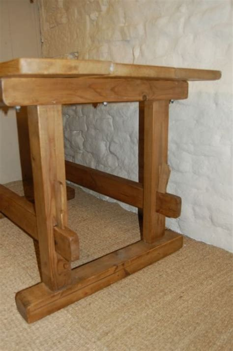 antique country pine trestle table kitchen table