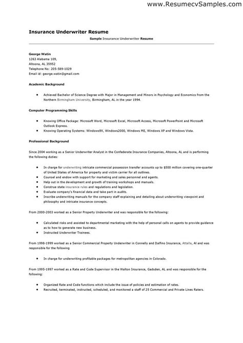 Sle Insurance Underwriter Resume by Resume For Insurance Underwriter 28 Images Resume Exle Insurance Underwriter Resume Sle