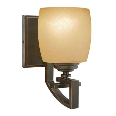 Wall Sconce Home Depot hton bay 1 light bronze sconce 25105 the home depot
