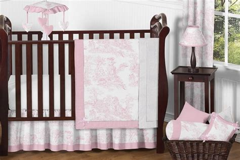 Pink Toile Crib Bedding by Pink And White Toile Baby Bedding 11pc Crib Set