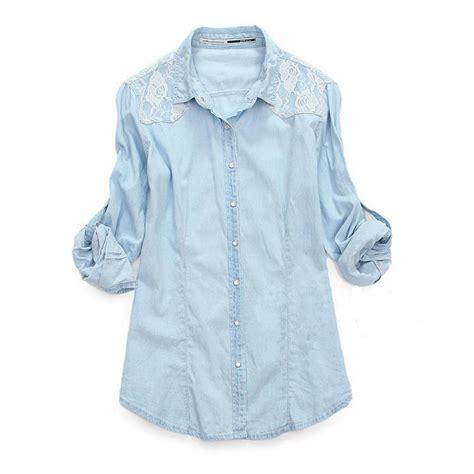 Denim Mix Lace Shirt 2 light blue denim lace shirt sleeved shirts on luulla