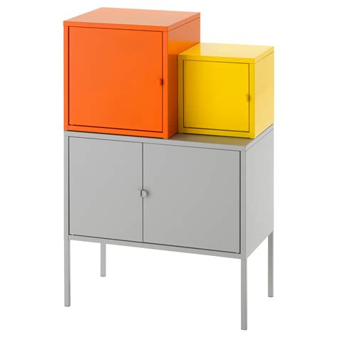 ikea lixhult lixhult storage combination orange yellow grey 60x92 cm ikea
