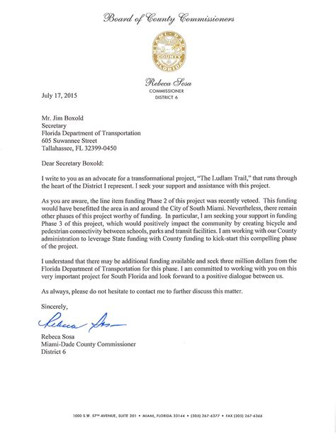 Mortgage Support Letter Commissioner Sosa Submits Letter In Support Of Ludlam Trail Funding Ludlam Trail