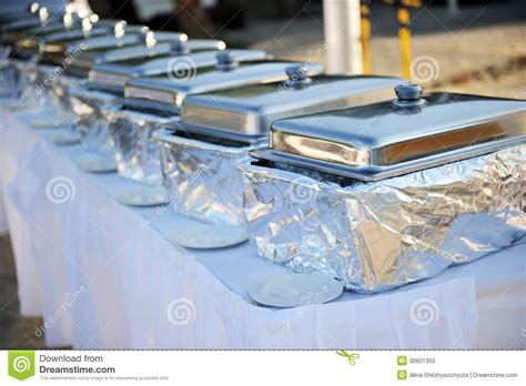 how to set a buffet table with chafing dishes banquet table with chafing dishes stock image image