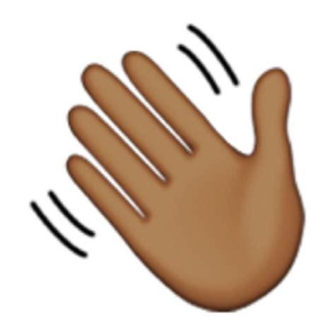 emoji of a wave deeper brown waving hand sign emoji u 1f44b u 1f3fe