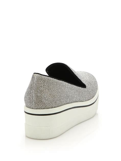 stella mccartney glitter platform skate shoes in gray lyst