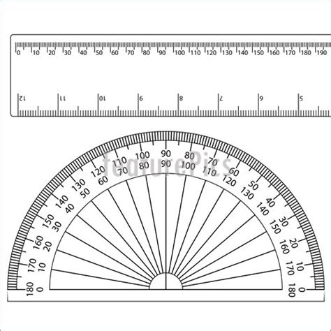 printable round ruler illustration of protractor ruler instrument degree circle