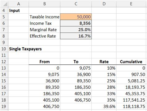 income tax formula excel