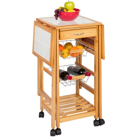 portable kitchen island with drop leaf portable folding tile top drop leaf kitchen island cart