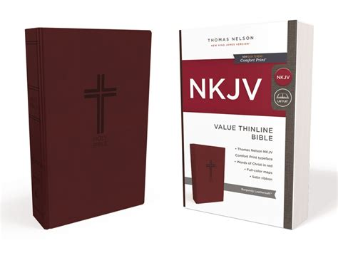 nkjv thinline bible large print imitation leather burgundy letter edition comfort print books nkjv value thinline bible imitation leather burgundy