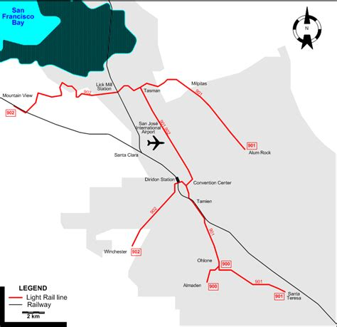 san jose light rail map san jose 2007
