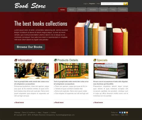 home page design sles online book store website template 005 website template