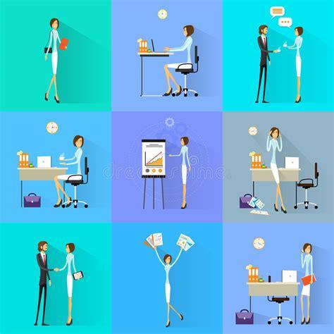 Working Set B business working set office desk flat design stock vector illustration of character