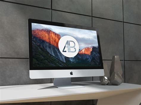 Desk With Mac Minimal Imac On Desk Mockup Mockupworld
