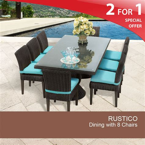 Outdoor Dining Tables For 8 Rustico Rectangular Outdoor Patio Dining Table With 8 Chairs