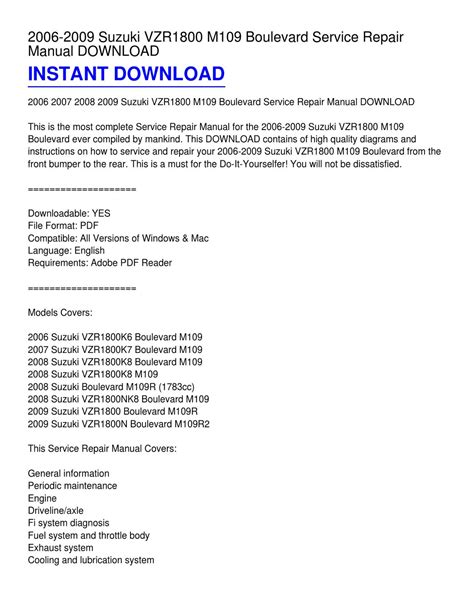 small engine repair manuals free download 2007 suzuki reno parking system 2006 2009 suzuki vzr1800 m109 boulevard service repair manual download by keith chavez issuu