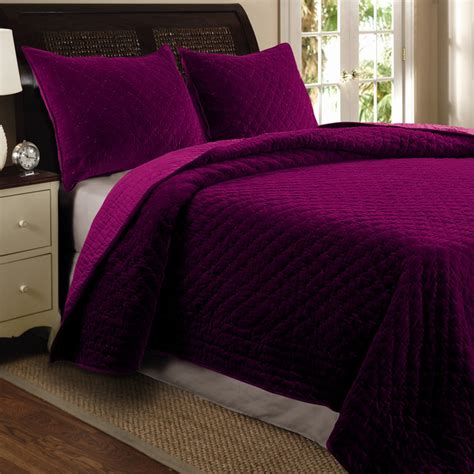 bohemian velvet 3 piece full queen size quilt set