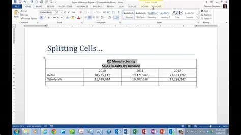 merging and splitting table cells in microsoft office word