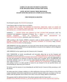 Agreement Letter For Advance Payment Guarantee Letter