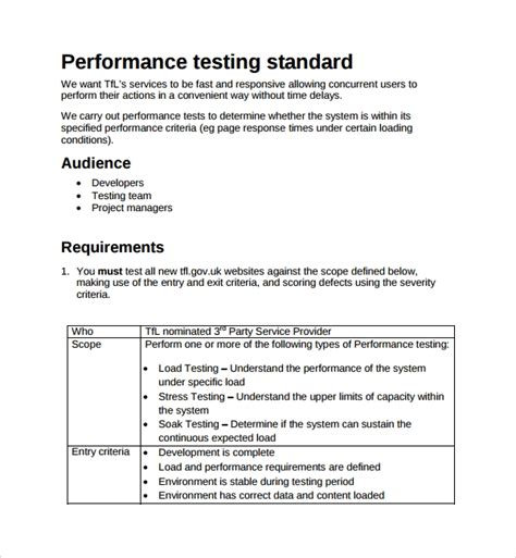 performance testing test plan template 9 testing plan templates sle templates