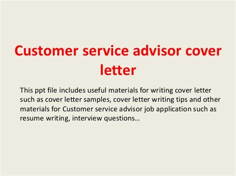 Customer Service Advisor Cover Letter by Customer Service Advisor Cover Letter