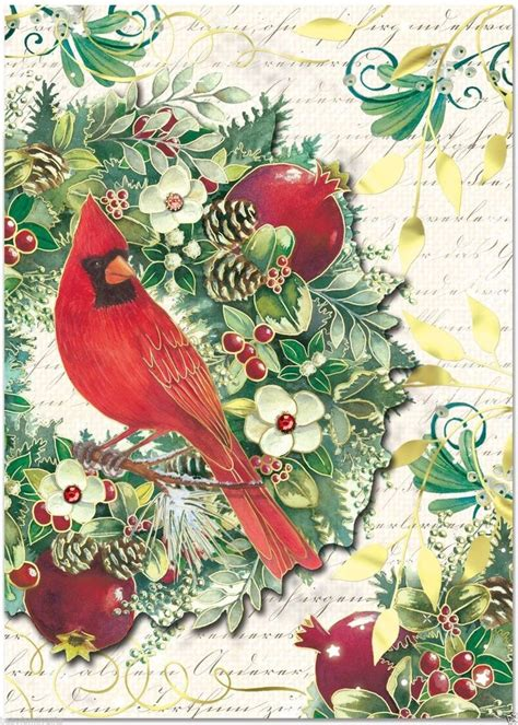 punch studio christmas dimensional holiday greeting cards cardinal wreath  ebay punch