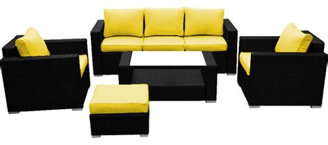 Yellow Patio Furniture Reef Rattan 5 Sofa Set Black Rattan Yellow Cushions Tropical Patio Furniture And