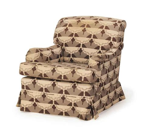 brown patterned chair a brown grey and cream patterned plush upholstered club
