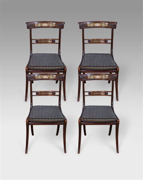 set of 4 antique dining chairs brass inlaid chairs four