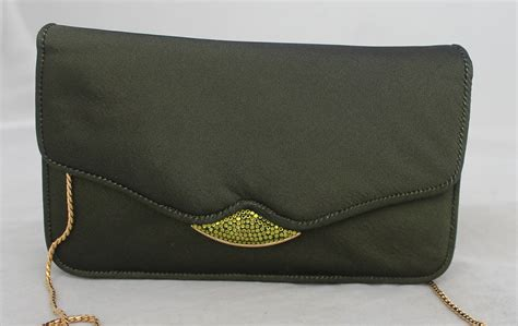 Judith Leiber Gertrude Satin Pouch by Judith Leiber Olive Satin Evening Bag And Clutch With