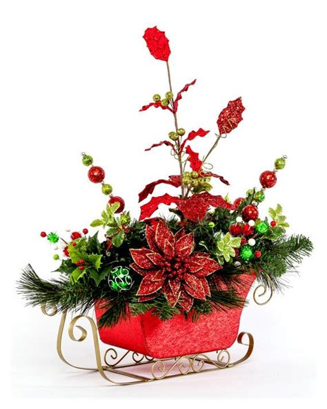 red christmas sleigh centerpiece w whimsical by