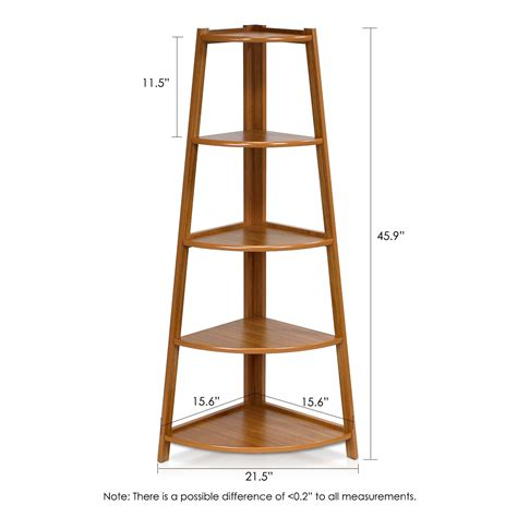 5 tier corner ladder shelving unit cherry colorreview