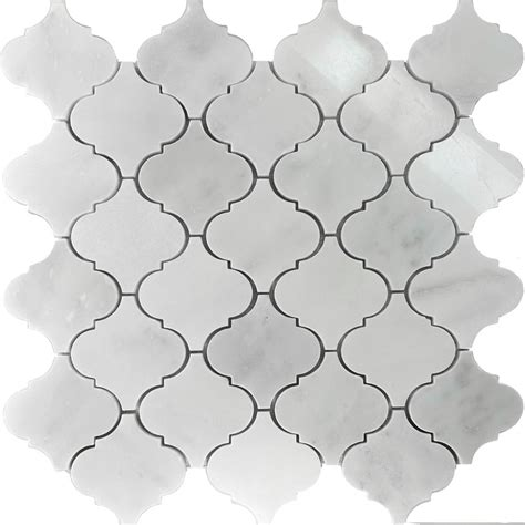 sl white marble moroccan pattern mosaic