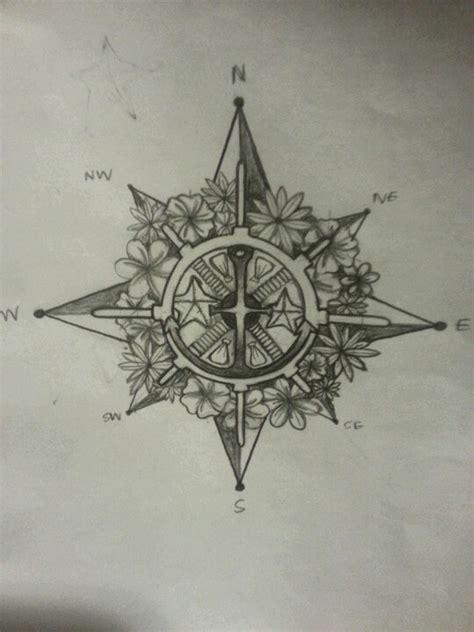 compass tattoo with flowers flower compass tattoo ideen f 252 r d und j d pinterest