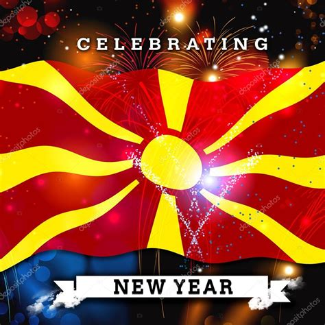 new year card new year card with flag of macedonia stock photo
