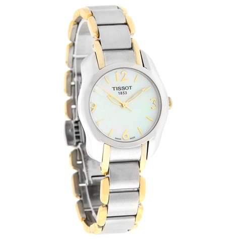 Tissot T Wave Of Pearl Two Tone Stainless Steel T02 2 285 tissot t wave mop two tone swiss quartz t023