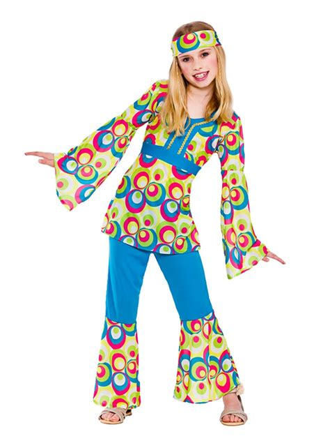 girls flower power hippie costume halloweencostumescom childrens hippy girl fancy dress costume 60 s 70 s hippie