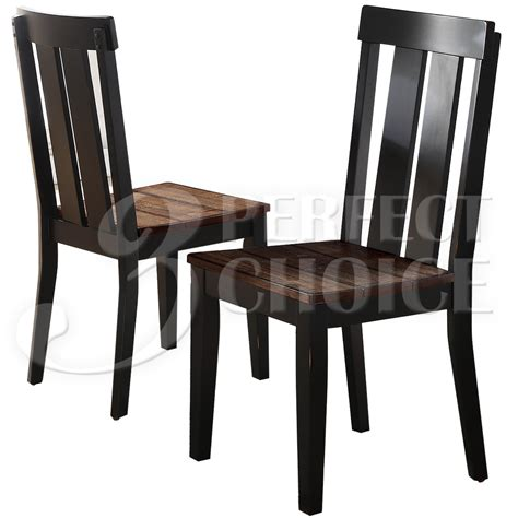Distressed Wood Dining Chairs Set Of 2 Dining Side Chairs Rustic Distressed Wood Seating Oak Black Legs Ebay