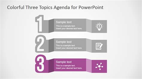 Free Colorful Three Topics Agenda For Powerpoint Slidemodel Impactful Powerpoint Templates