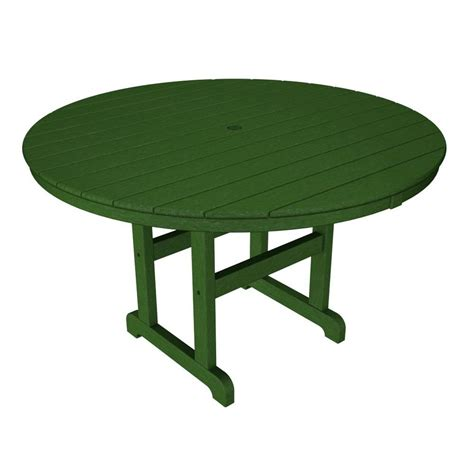 Polywood La Casa Cafe 48 In Green Round Plastic Outdoor Green Plastic Patio Table