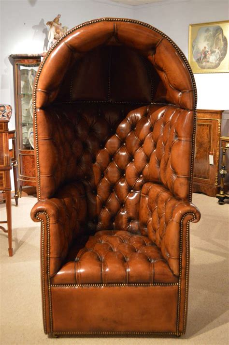 stunning quality brown leather georgian style hooded porters chair  stdibs