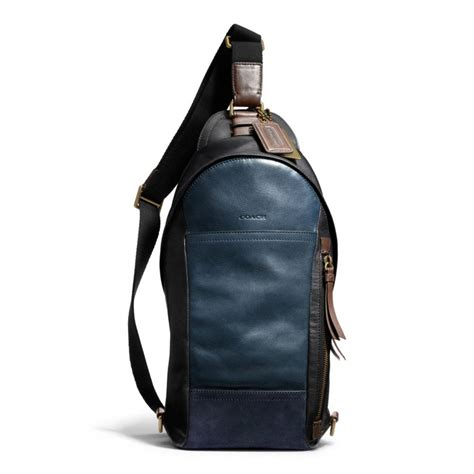 Coach Sling Backpack 2 coach bleecker convertible sling pack in colorblock leather in blue for lyst